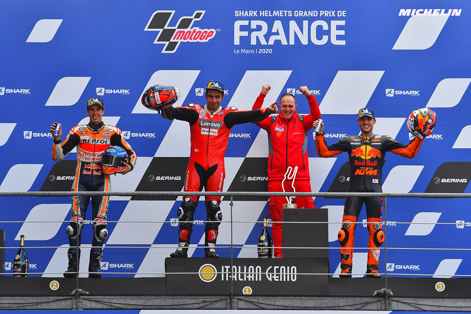 MotoGP™:  Petrucci wins at Le Mans aided by the exceptional grip delivered by his MICHELIN Power Rain tyres